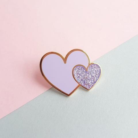 Heart enamel pin - lilac
