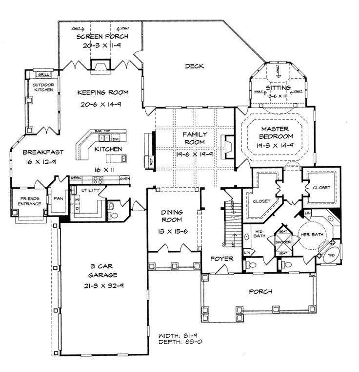 Arts and crafts architecture floor plan for Arts and crafts house plans