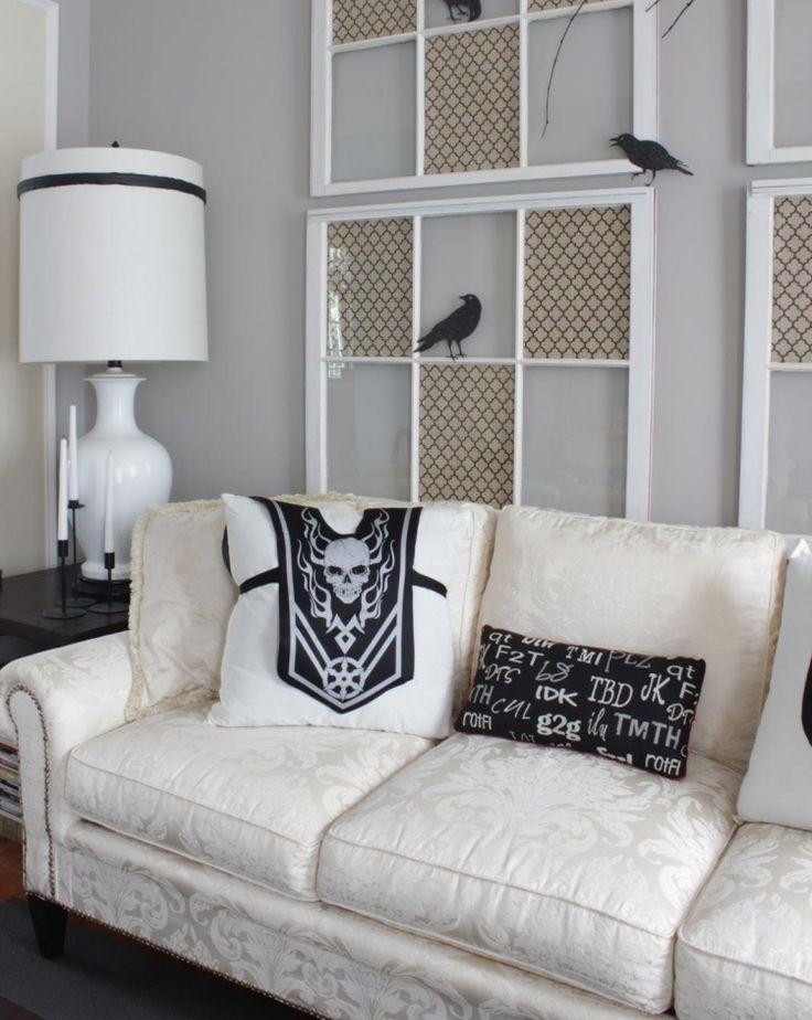 Alte Fenster Dekoration Couch Wanddeko Raben Schwarz Weiss