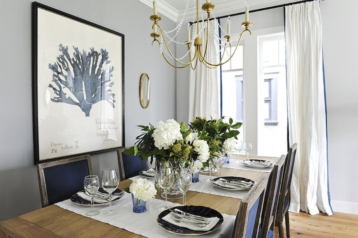 Navy Blue Dining Chairs Transitional Dining Room Kerrisdale Design Dinin