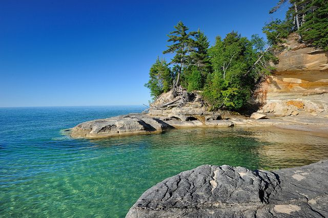 """""""Michigan's Caribbean"""" (The Coves) Pictured Rocks National…   20 miles west of Munising"""