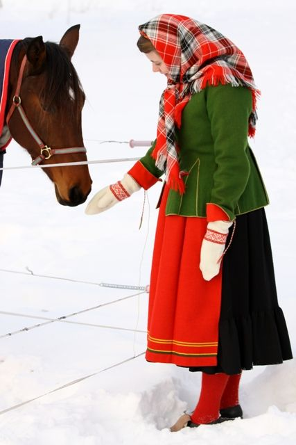 The beautiful folk costume of Mora (Sollerön), Sweden.