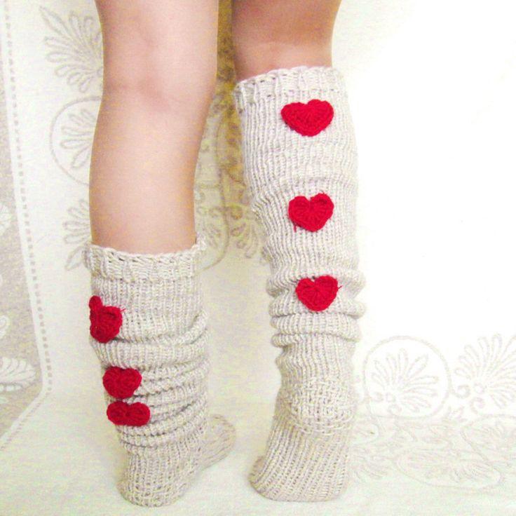 Overknee light beige socks Knee high Socks Valentine's day Hand knit grey socks The trend in 2015 Wool socks Warm winter socks by mymomsshop1 on Etsy https://www.etsy.com/listing/217146642/overknee-light-beige-socks-knee-high