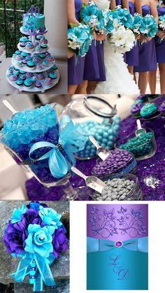 Turquoise-purple wedding theme is an elegant way to add style and sophistication to your wedding. Envoke a feeling of bright color and modern design with our unique purple and turquoise wedding invitations.