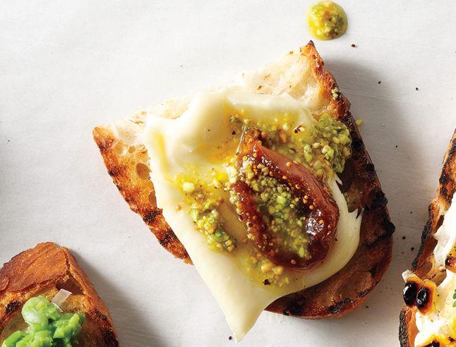 Pickled Fig, Robiola & Pistachio Oil Crostini - Bon Appétit