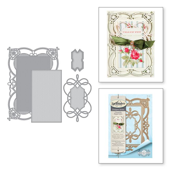 Shapeabilities Coralene's Chemise Layering Frame Large Etched Dies Chantilly Paper Lace Collection by Becca Feeken
