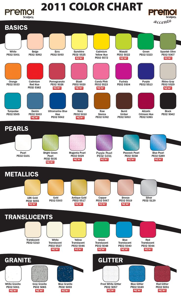 Folk art acrylic paint color chart - Premo By Sculpey Color Chart