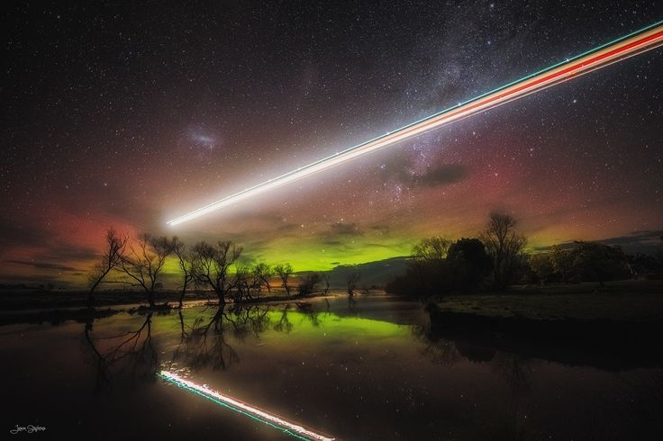 The lights of the Aurora Australis, or 'Southern Lights', with the added spectacle of a commercial aircraft en-route to Launceston Airport in Tasmania's north. All reflected in the South Esk River. #launceston #aurora #southernlights #auroraaustralia #tasmania #discovertasmania Image Credit:  Jason L. Stephens
