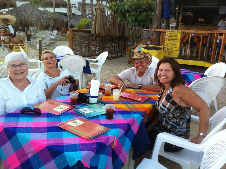 It's dinner time and happy hour (always happy hour) at one of my fav places - Tobasco Deck - right on the beach in Cabo.