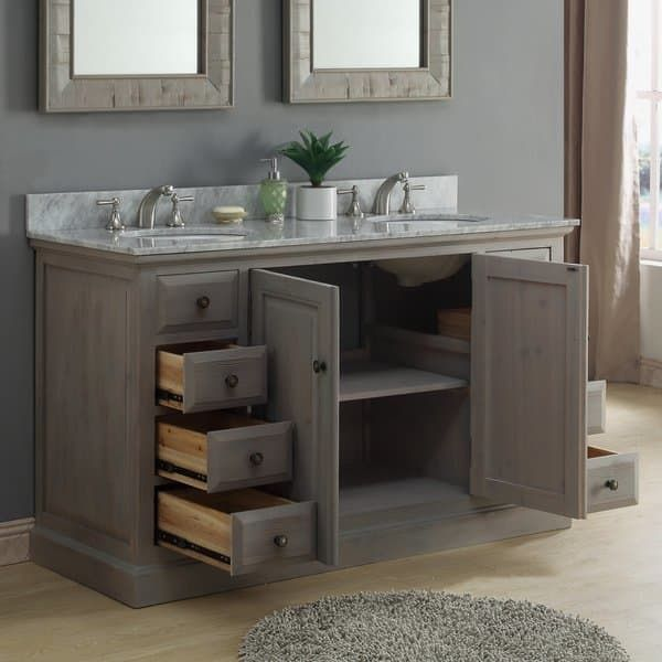 infurniture 60 inch white carrera marble double sink bathroom vanity rh pinterest com
