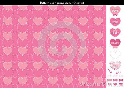 A seamless heart background in rose pink color theme. It comes a set with extra bonus heart icons. Fully editable.