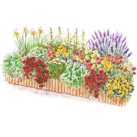 hot color flower garden plan via better homes and gardens httpwww - Flower Garden Ideas Partial Sun