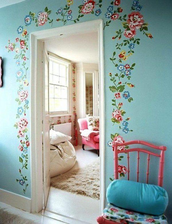 Streichideen vintage Wände blumen diy tür