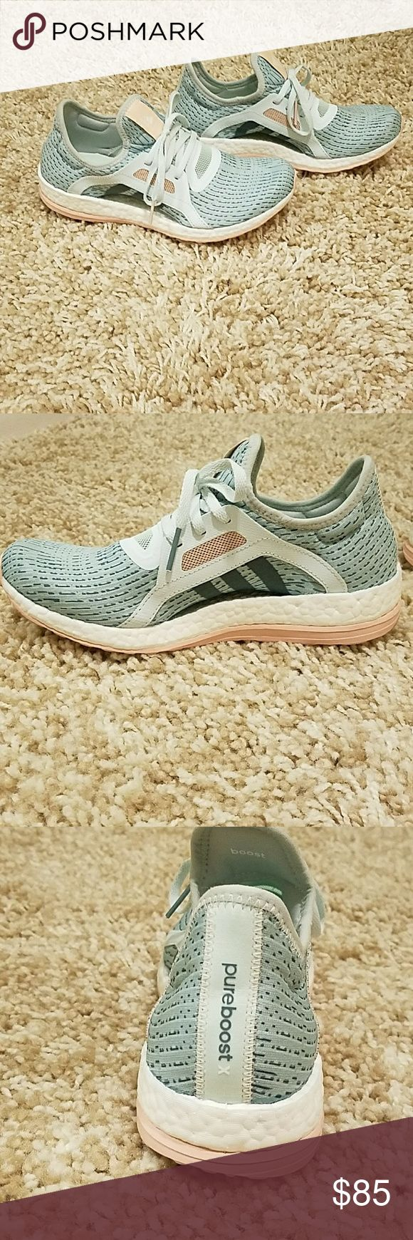 Adidas pure boost sneakers Baby blue and pink Adidas pure boost. Only worn once. Too big on me. Great condition. Adidas Shoes Athletic Shoes