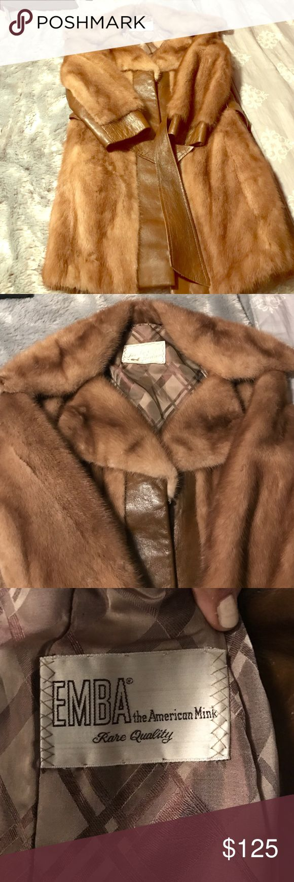 Mink coat vintage Caramel color fit coat. Soft fur. Either sleeves are for petite because they are exactly my length or it's meant to be worn shorter. Stunning! This coat was given to me and it is from Burtrum furs in Michigan. I asked them how much they start off on the low end is 1500. But this one is vintage and they go from 300-500. That's how I based my price. Jackets & Coats