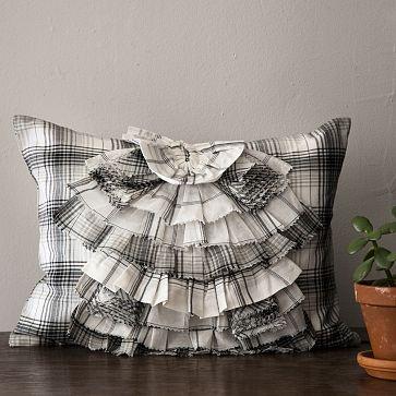 plaid ruffle pillow cover