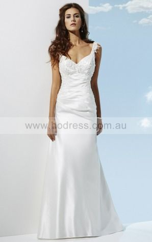 Shoulder Straps Satin Empire Buttons Wedding Dresses gocf1001--Hodress