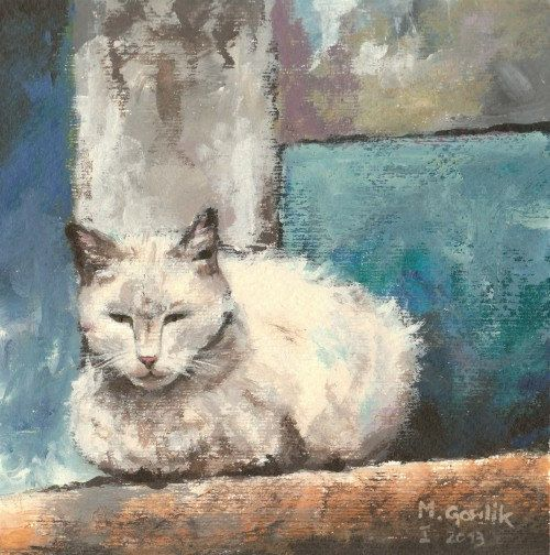 White Cat,  Fine Art GICLEE PRINT after an original painting by Milena Gawlik