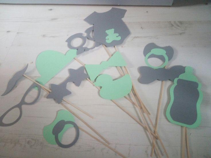 accessoires photobooth baptême, baby shower coloris vert d' eau et gris 12 pièces