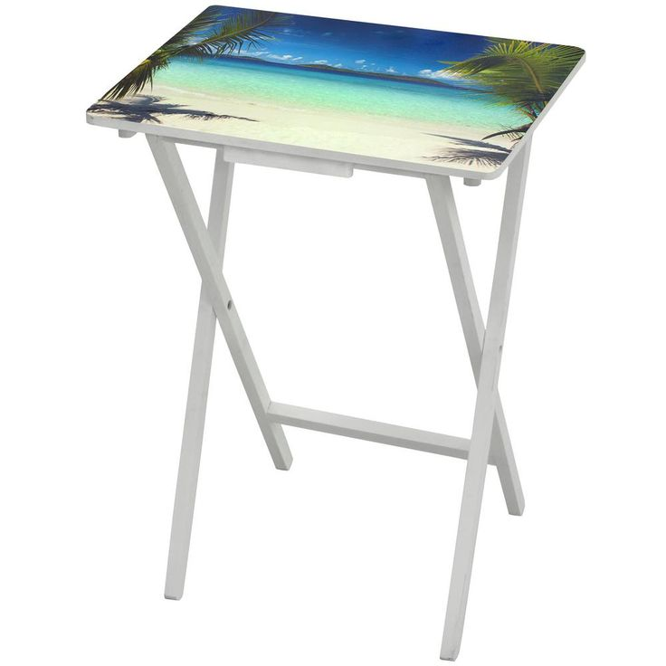 Oriental Furniture 19 in. x 13.75 in. Caribbean Beach TV Tray in Blue