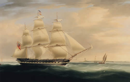 'HCS Thomas Coutts'  by William Huggins. Thomas had interests in a number of East India Company vessels which were engaged in lucrative trade in the Far East.  Two ships were named after him.                       (PD-150)               suzilove.com
