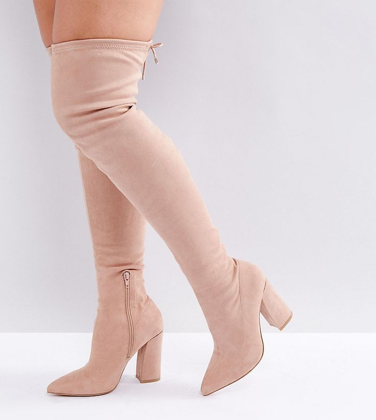 ASOS KARMA Wide Fit Pointy Over The Knee Boots - Beige