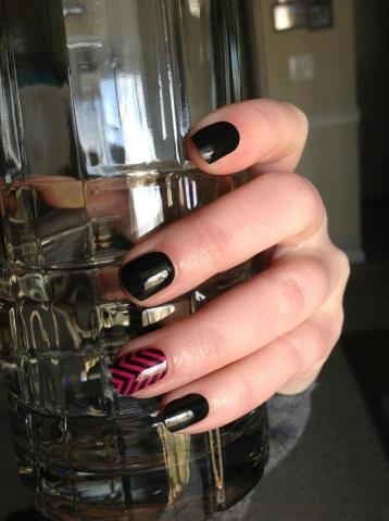Darkest Black and Black Chevron on Clear layered over Haute Pink Jamberry Nails Wrap