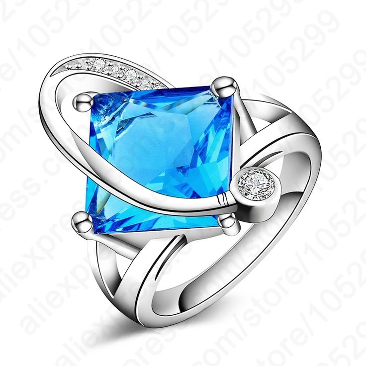 PATICO Newest Woman Ring Jewelry 925 Sterling Silver Cubic Zirconia  Blue Square Party Wedding  Rings Fine Gift