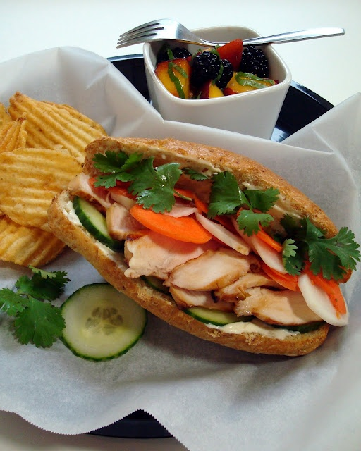 Vietnamese Banh Mi Sandwich. Better to julienne the daikon.