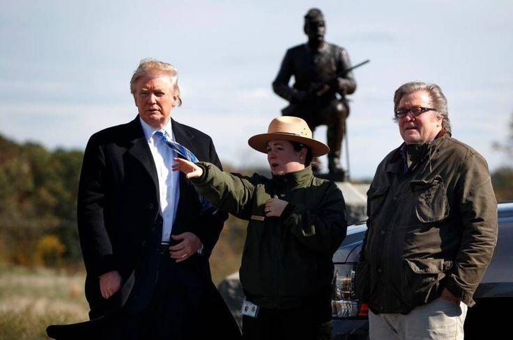 Trump expected to roll back Obama climate initiatives despite easing of 'hoax' rhetoric     ---   Interpretive park ranger Caitlin Kostic, center, gives a tour of the Gettysburg National Military Park to Republican presidential candidate Donald Trump, left, and Steve Bannon on Oct. 22, 2016, in Gettysburg, Pa. Bannon is a founder and former executive of Breitbart, is one of Trump's top advisers and has long campaigned to discredit climate change scientists.