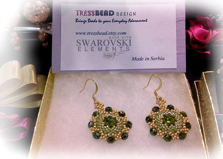 Green Swarovski rivoli earrings