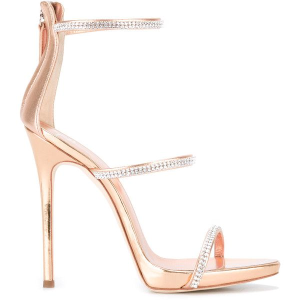 Giuseppe Zanotti Design Harmony Sparkle sandals ($945) ❤ liked on Polyvore featuring shoes, sandals, heels, grey, strappy leather sandals, heeled sandals, metallic strappy sandals, grey strappy sandals and grey sandals