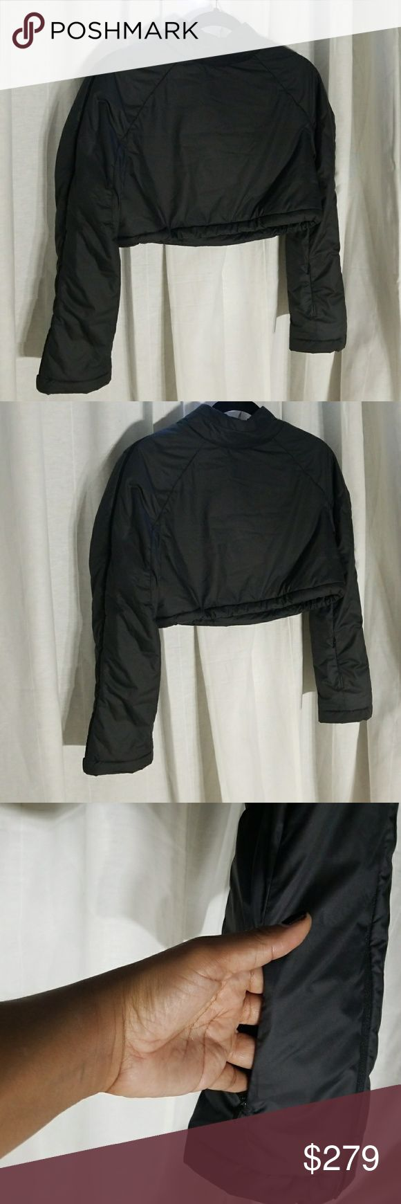 Lulu lemon short puff work out coat. Lululemon work out coat with shoulder open zippers that zip all the way to the arms. Draw string waist and high collar. Color is like a charco Gray. lululemon athletica Jackets & Coats