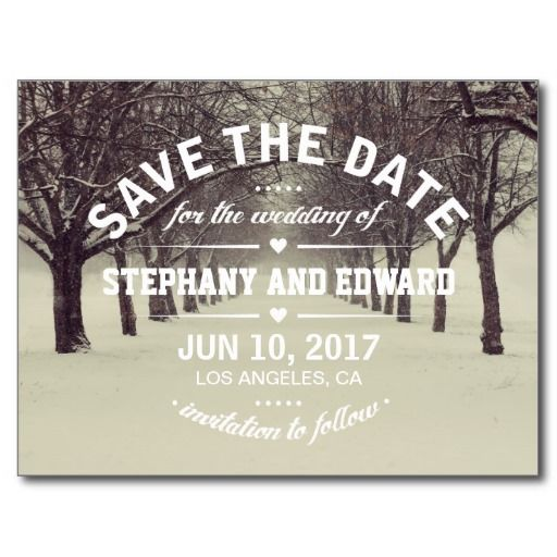 Winter Trees Avenue Stylish Save the Date Postcard.  $1.20