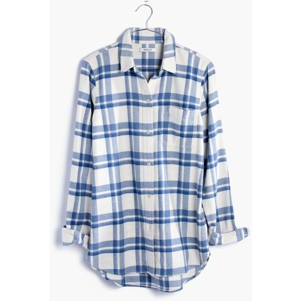 MADEWELL Flannel Classic Ex-Boyfriend Shirt in Akiva Plaid ($82) ❤ liked on Polyvore featuring tops, shirts, madewell, rainy day, blue flannel shirts, flannel button-down shirts, flannel shirts, plaid flannel shirt and button up shirts