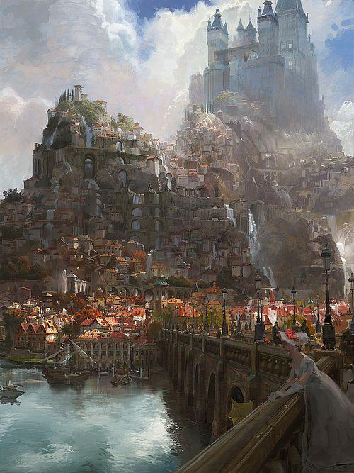 craig mullins, city, medieval, fantasy, castle, bridge, lake