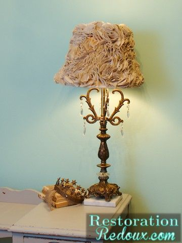 Ruffled Lamp Shade made from a drop cloth http://www.restorationredoux.com/?p=4235