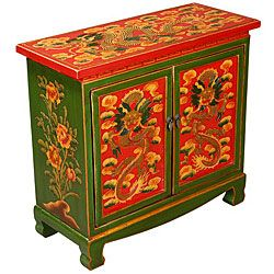 Hand Painted tibetan cabinet  | Hand-painted Tibetan Red and Green Storage Cabinet | Overstock.com