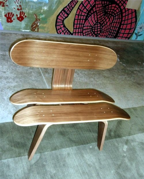 Ideas for upcycled furniture design - skateboard parts