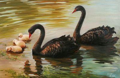 (North Korea) Black Swans by Gang Jeong-jo (1960-   ). Korean brush watercolor.