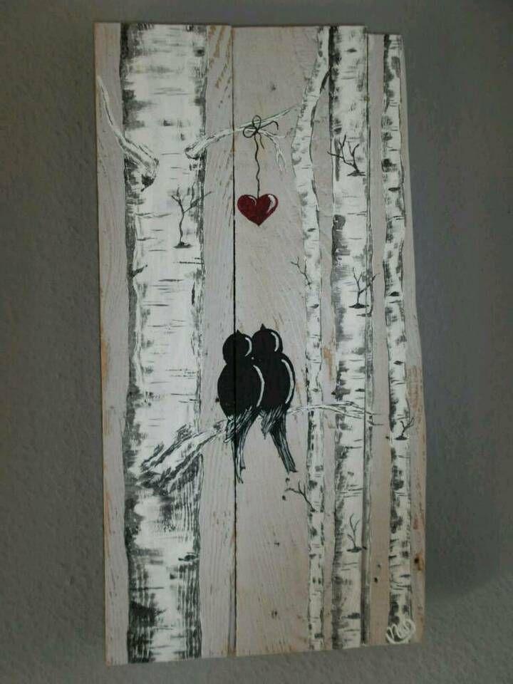 Bild Liebende Vogel Acryl Auf Holz Altholz Palettenholz In