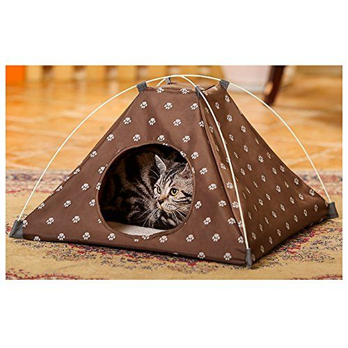Saymequeen Foldable Cat Indoor Tent Bed with Warm Cushion Pad Kitten Puppy Cave House Bed Dog Play Room Bed (coffee) >>> You can find out more details at the link of the image.