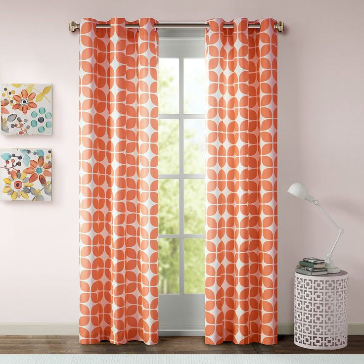 "Sonya Geometric Curtain Panel Pair - Orange (42""x63""), Mesmerizing Orange"