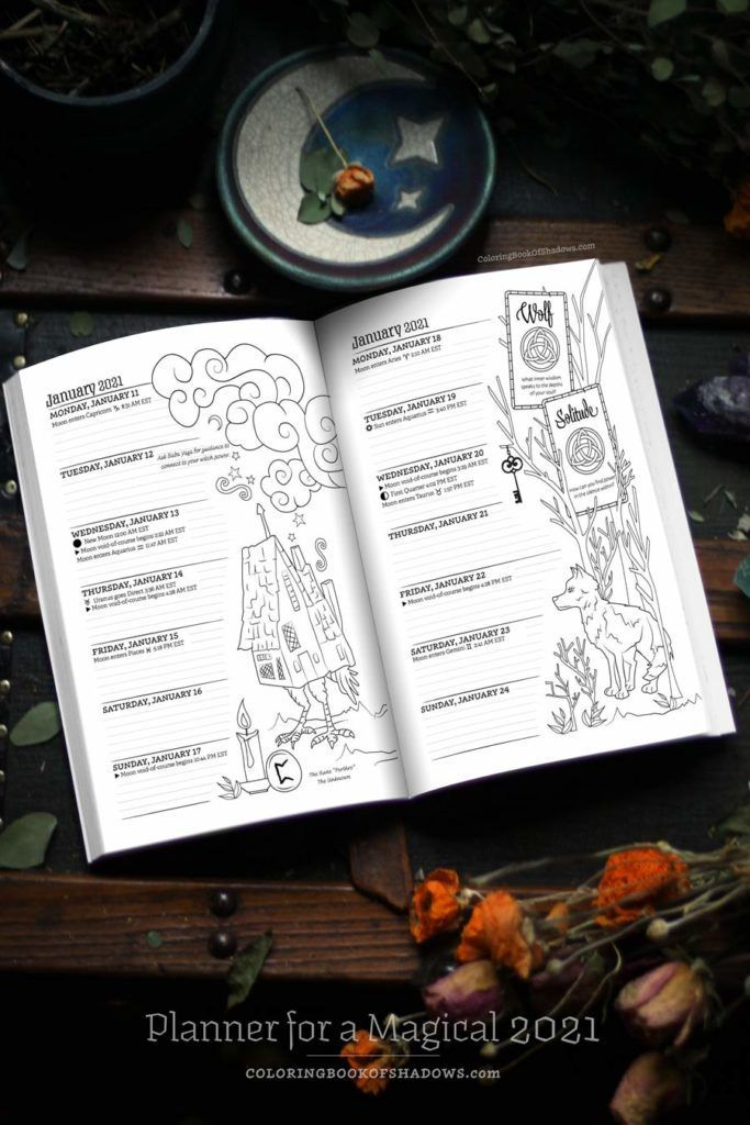 Coloring Book Of Shadows Planner For A Magical 2021 Book Of Shadows Coloring Books Witchcraft Books