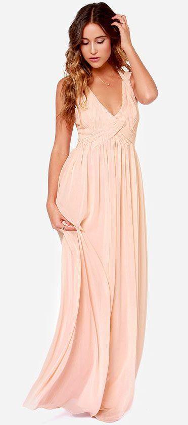 Strike a Minerva Peach Maxi Dress