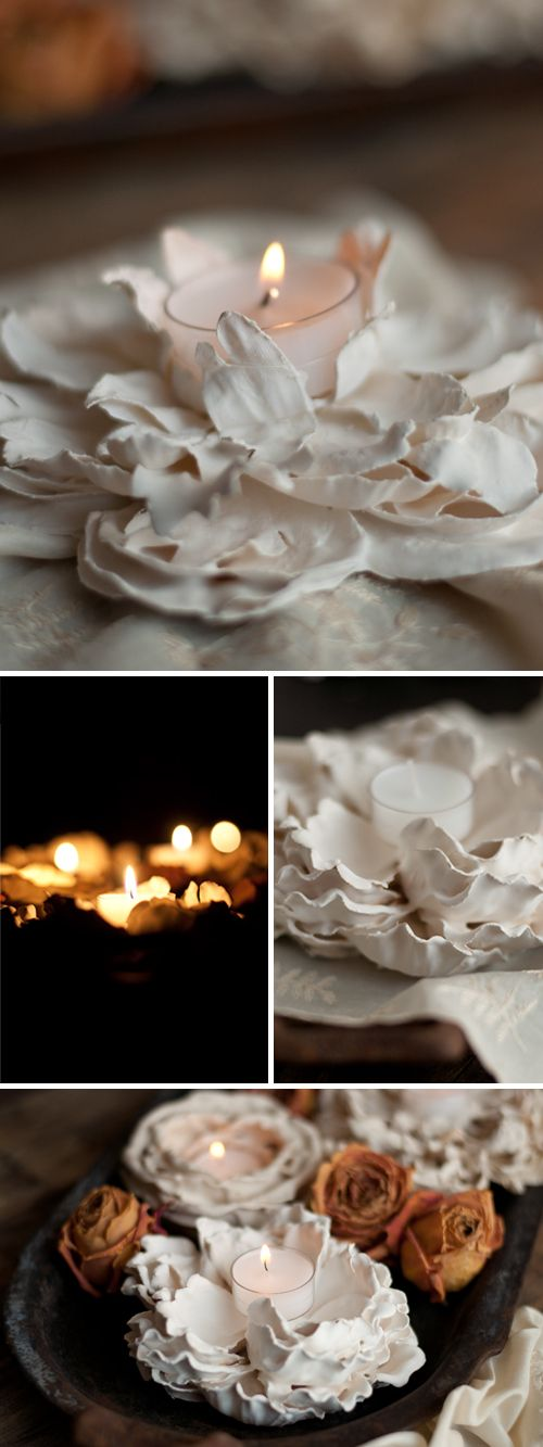 Plaster Flower Votives..diy! got 2 do I love these..so easy