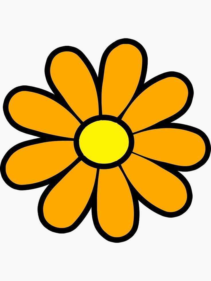 Happy Orange Daisy Flower Power 60's 70s Retro Vintage ... (736 x 981 Pixel)