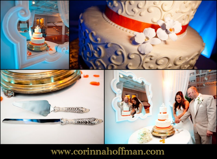 Orange And White Wedding Cake Details