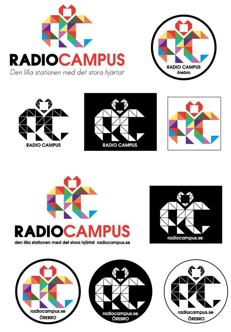 Logo (with variations) for Örebro universitys student radio (Sweden) by Elin Häggberg / Henning Media & Design