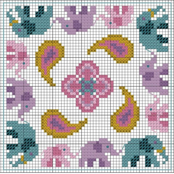 Cross-stitch Elephant Biscornu... no color chart available, just use the pattern chart as your color guide.. or choose your own colors...